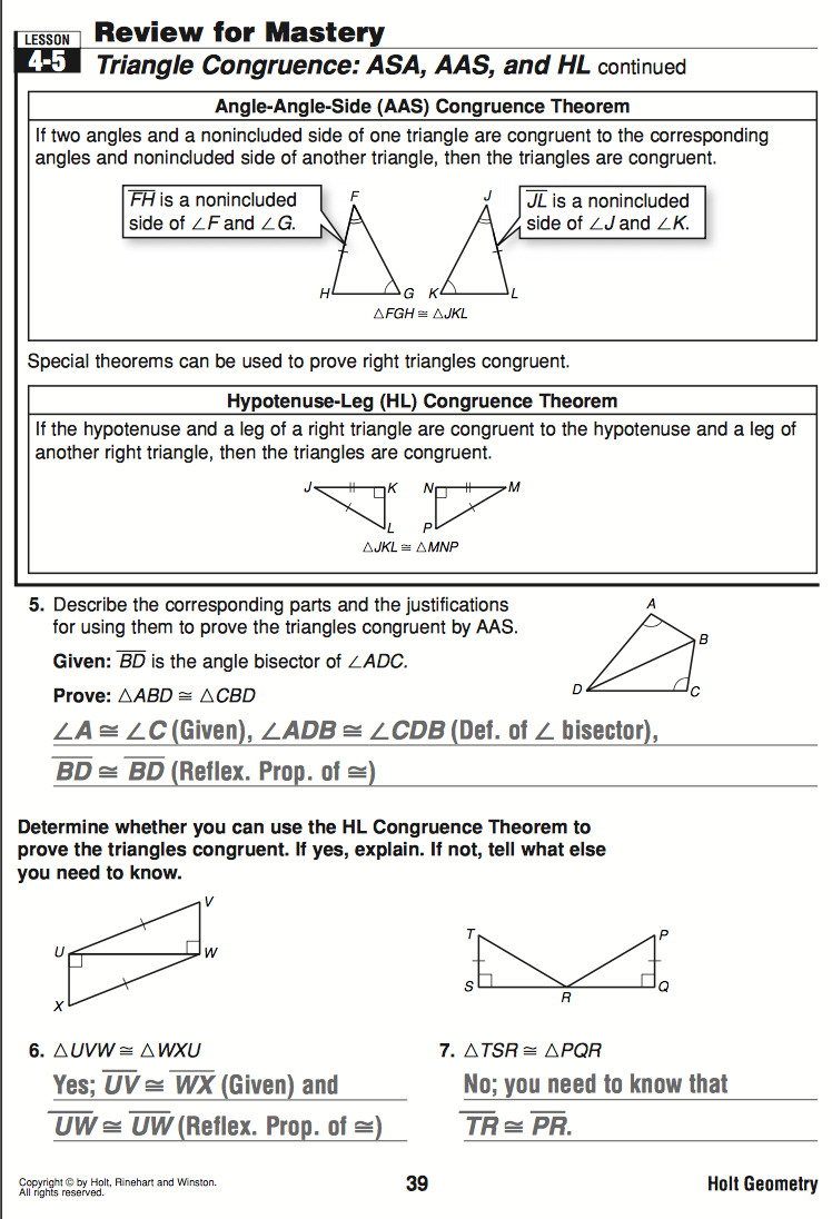 Congruent Triangles Worksheets Holt Diilz – Geometry Worksheet Congruent Triangles Answers
