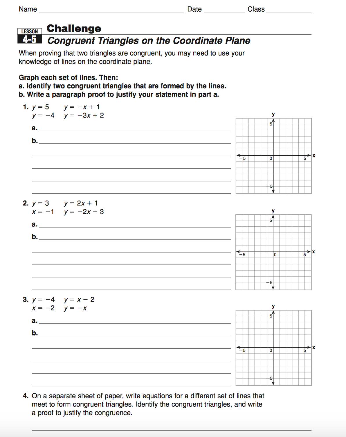 Geometry Mrs Murks Math Class – Geometry Worksheet Congruent Triangles Answers