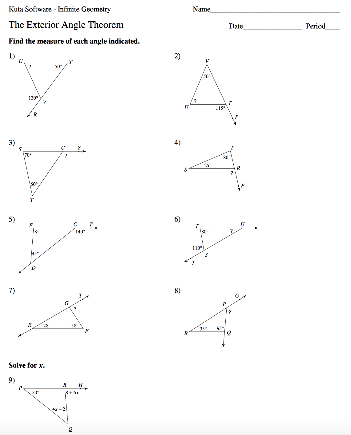 Free Worksheet Exterior Angle Theorem Worksheet geometry mrs murks math class angles in a triangle worksheet page 1 2 3 challenge 4 and if you have question about the homework that was assigned on