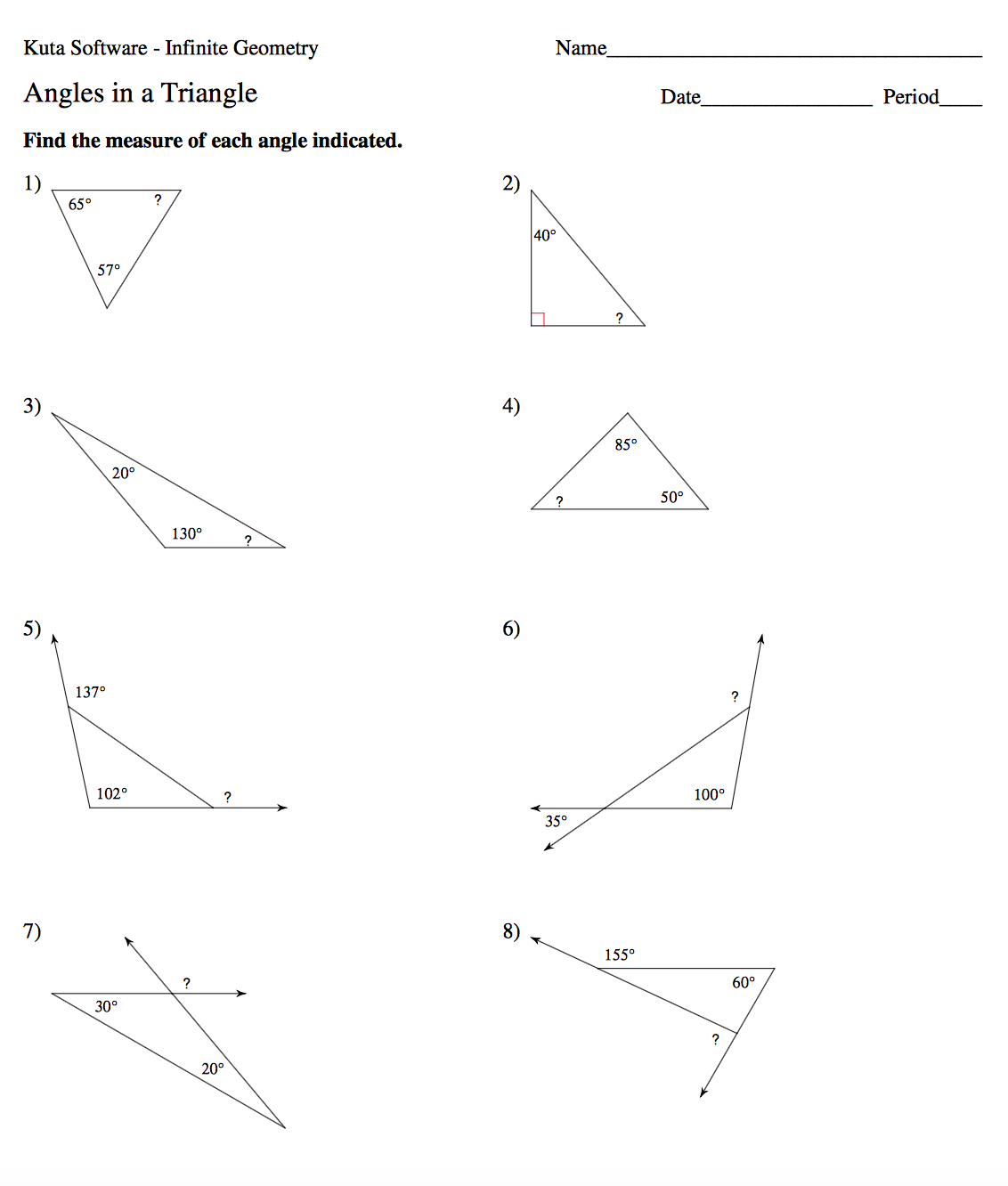 Geometry Mrs Murks Math Class – Angles of a Triangle Worksheet