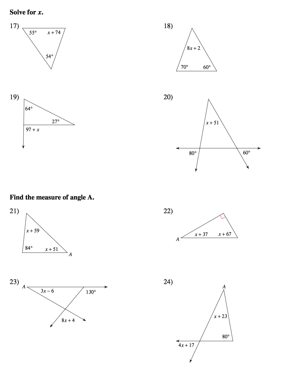 Geometry Mrs Murks Math Class – Exterior Angle Theorem Worksheet