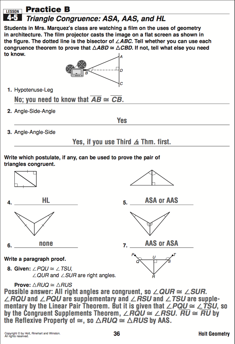 Geometry Mrs Murks Math Class – Holt Geometry Worksheets