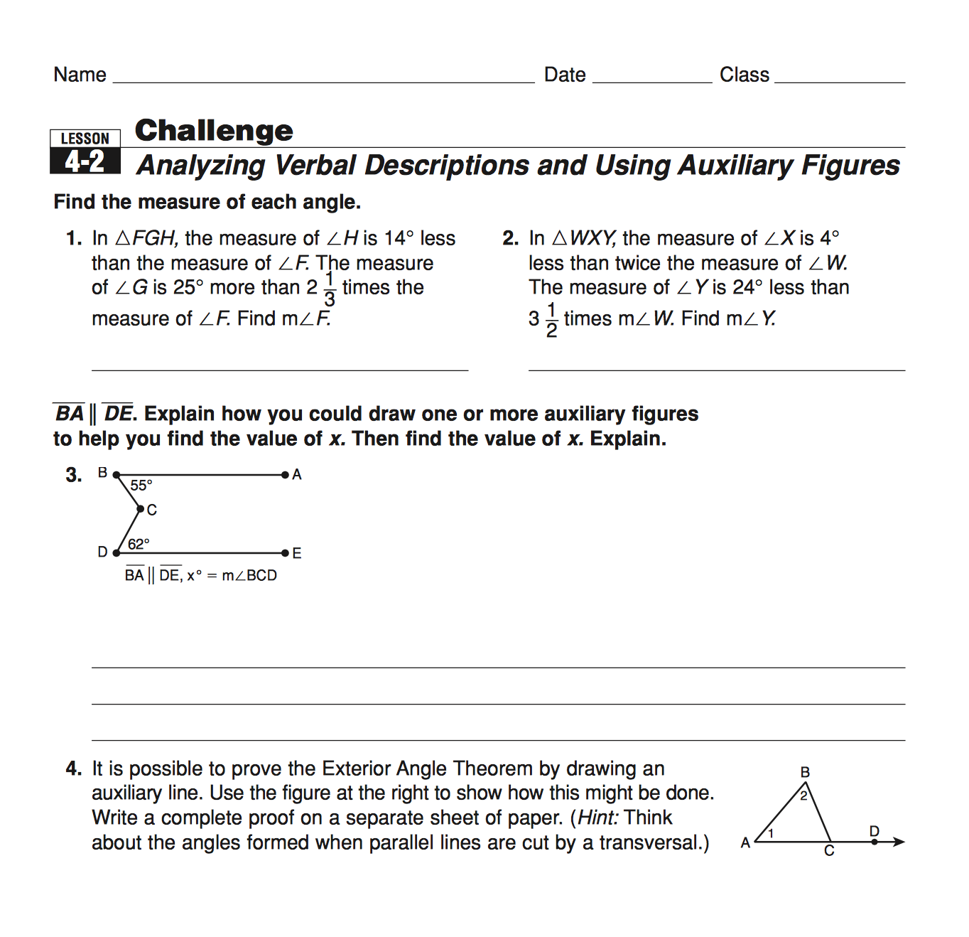 Worksheets Exterior Angle Theorem Worksheet geometry mrs murks math class 4 if you have a question about the homework that was assigned on 4th check out these examples from picture 1 2