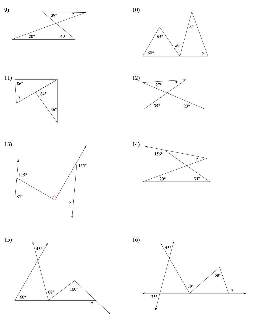 Worksheets Angles Of A Triangle Worksheet geometry mrs murks math class angles in a triangle worksheet page 1 2